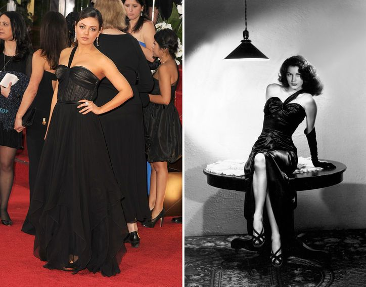 21st-Century Style Icon: Mila Kunis, the New Ava Gardner. With her lustrous dark hair and alluring beauty, Ava Gardner was the drop-dead-gorgeous femme fatale in the golden age of Hollywood. Fast-forward to now, and the stunning doe-eyed Mila Kunis is working that same sexy, mysterious bombshell vibe—with comparably stellar acting talents, ruched one-shouldered evening gowns, and hunky leading men (just swap Clark Gable and Errol Flynn for Denzel Washington and Mark Wahlberg).