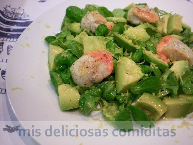 Mis Deliciosas Comiditas: ENSALADA DE CANONIGOS CON VIEIRAS