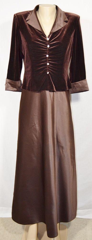 KAREN MILLER Brown Formal Dress 10 Velvet Bodice Satin Skirt Trim Jewel Buttons #KarenMiller #Maxi #Formal