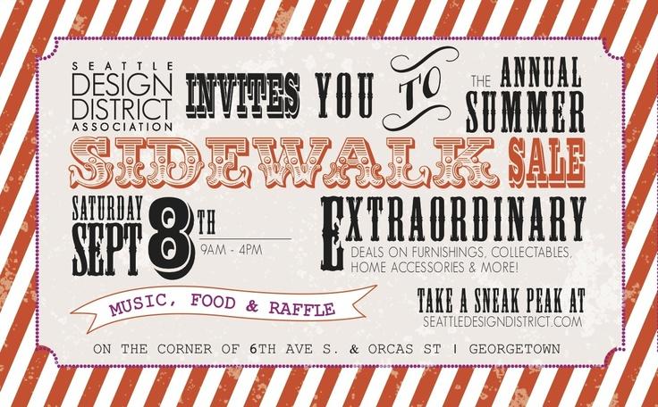 Seattle Design District Sidewalk Sale. Sept 8, 2012 9am-4pm