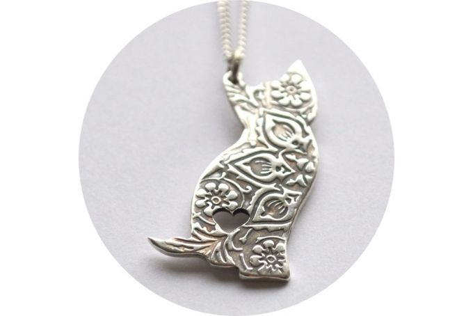 Embossed Cat Pendant by Antique Fusion Jewellery