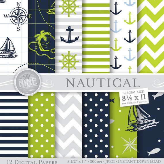 NAUTICAL Digital Paper BLUE & Lime GREEN Pattern by MNINEDESIGNS, $4.99