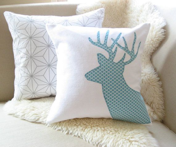 Modern Moose Pillows : Deer Pillow Cover, Boho Chic Moroccan Lattice White & Aqua Blue Stag Antler Applique, Rustic ...