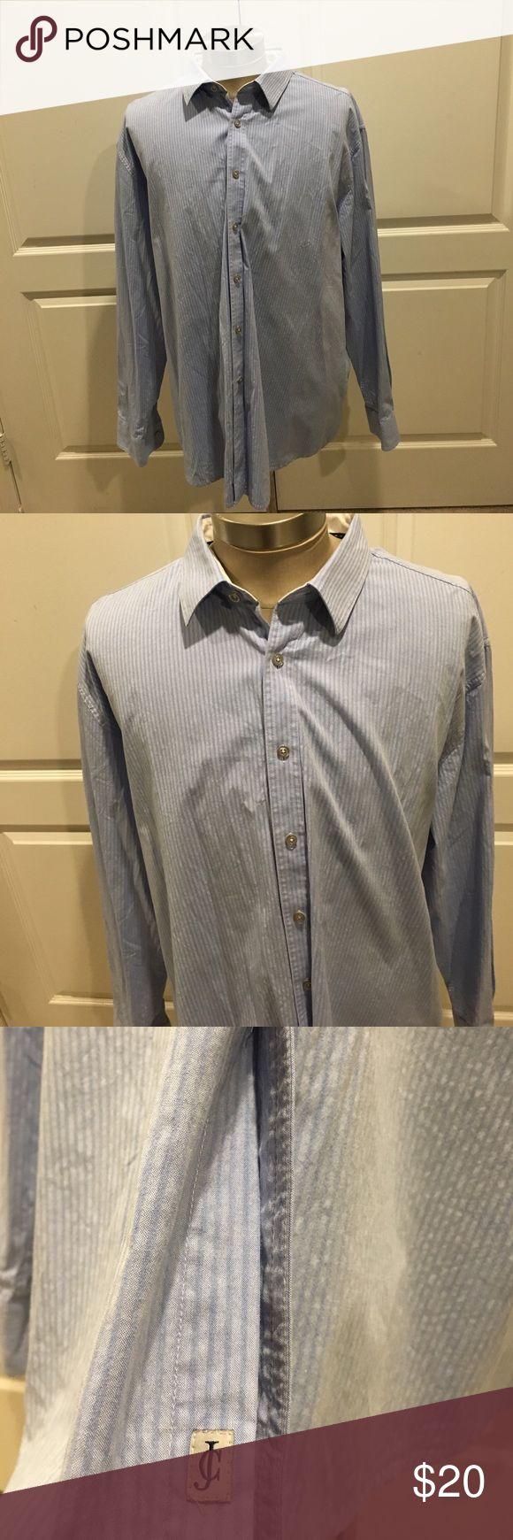 James Campbell men's dress shirt XXL Button Up Blue striped James Campbell Shirts Dress Shirts