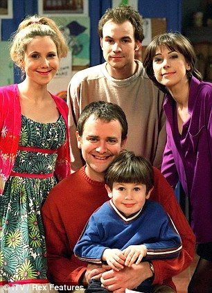 Hugh Bonneville, front centre, with Sally Phillips, Joe Duttine and Lou Gish in Holding The Baby in 1997.