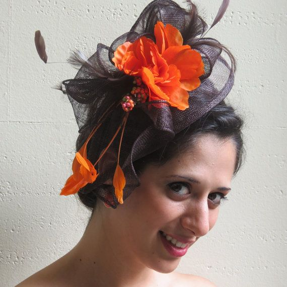 Brown Fascinator Orange Flower Hat By Fascinatorsfirst 56 00
