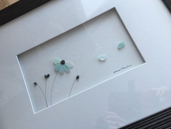 12 by 16 framed sea glass art by sharon nowlan by PebbleArt