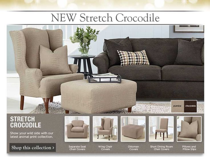 winter sure fit slipcovers new stretch crocodile collection
