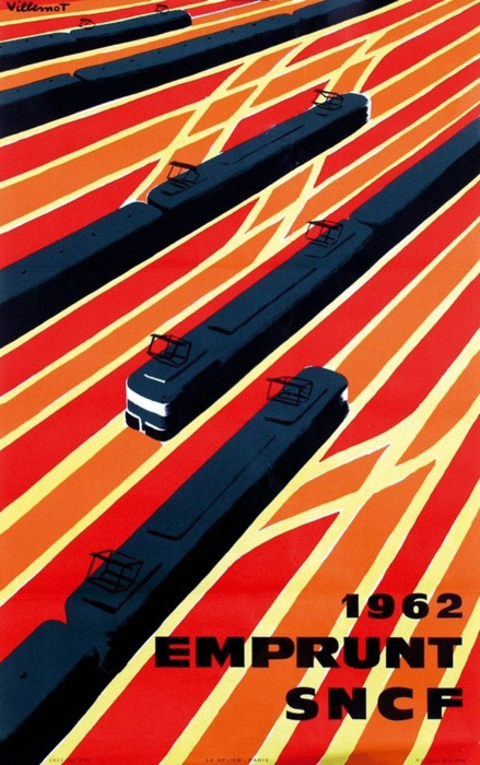 Emprunt SNCF by Bernard Villemot.  Bernard Villemot was a French graphic artist known primarily for his iconic advertising images for Orangina, Bally Shoe and Perrier.