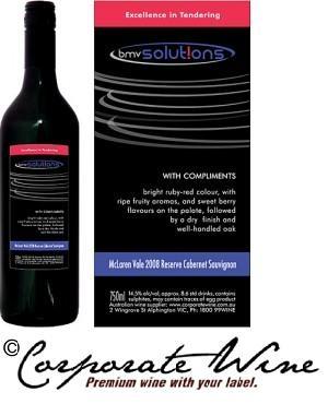 Corporate Wine Custom Designed Label adds extra class to Platinum Range McLaren Vale 2010 Reserve Cabernet