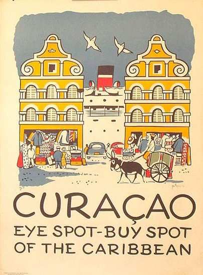 Curacao, Caribbean - vintage travel poster