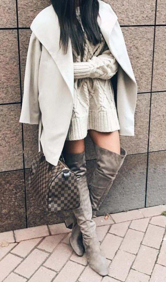 #pretty #winter #outfits /  Cream Coat // Cream Knit Dress // Green OTK Boots // Checked Tote Bag