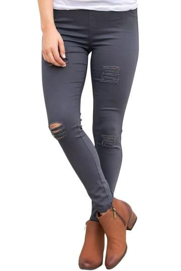 d18ffbf9bc9 Ladies Grey Ripped Front Stretch Denim Pants | BEADED CREATIONS | South  Africa