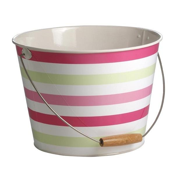 Storage Bucket - Stripey Pink