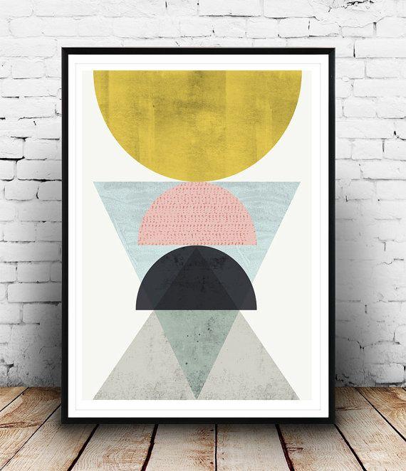Abstract poster arte geometrica stampa minimalista di Wallzilla