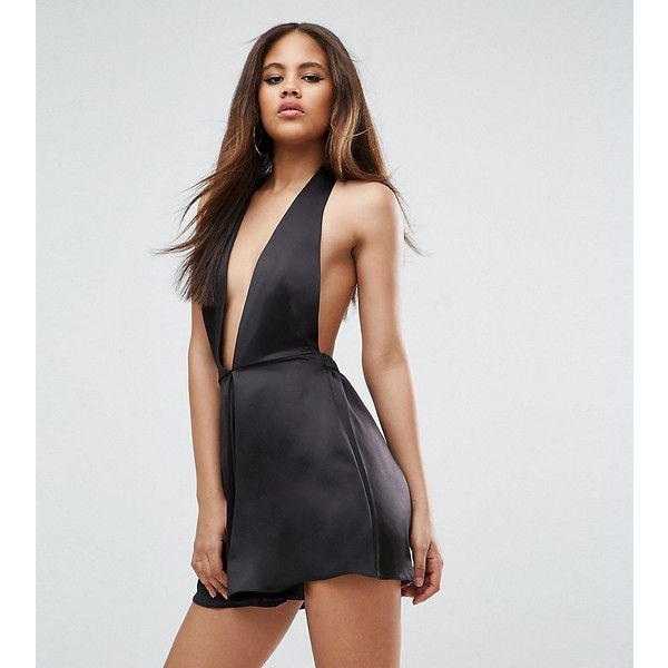 ASOS TALL Playsuit in Satin with Halter Plunge ($18) ❤ liked on Polyvore featuring jumpsuits, rompers, black, playsuit romper, halter-neck tops, plunge neck romper, open back romper and asos rompers