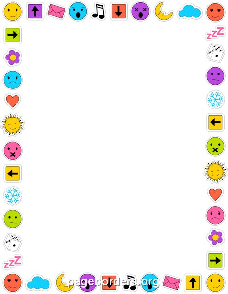 Printable emoji border. Use the border in Microsoft Word or other programs for creating flyers, invitations, and other printables. Free GIF, JPG, PDF, and PNG downloads at http://pageborders.org/download/emoji-border/