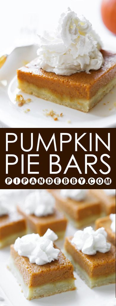 Pumpkin Pie Bars | Pumpkin Pie WITHOUT THE HASSLE! We love this dessert! These are JUST as delicious as the real deal.