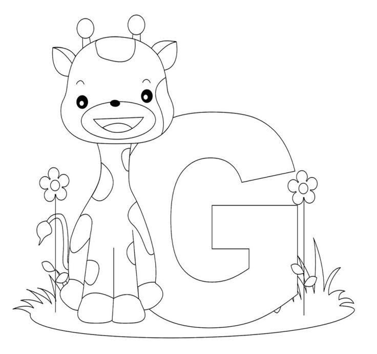 Animal With Alphabet G Coloring Pages