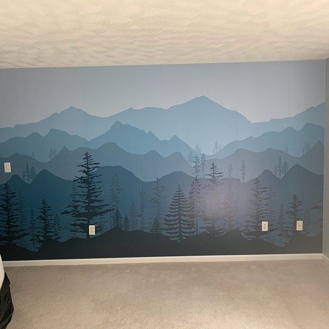 Peel And Stick Ombre Mountain Pine Trees Forest Scenery Nature Wallpaper Wall Decal Sticker For Interior Tree Wallpaper Ombre Mountains Wallpaper