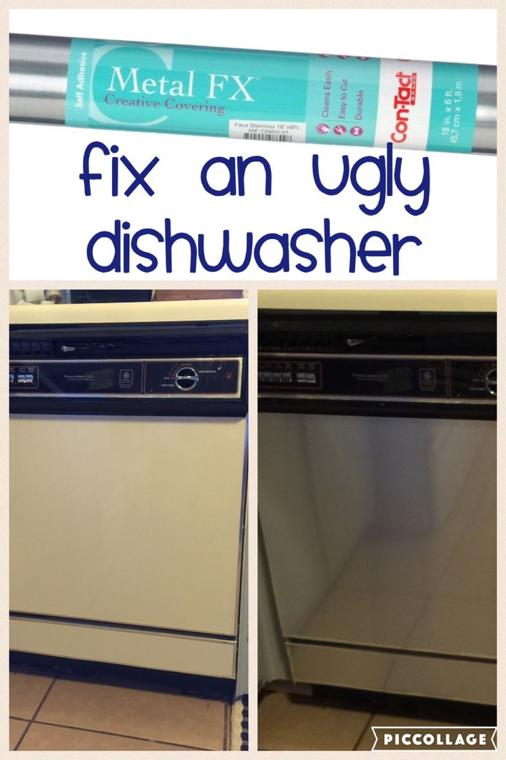 Fix an ugly dishwasher for less than $10 with contact paper.  Great idea for a rental. #contactpaper #rental #rentalhouse