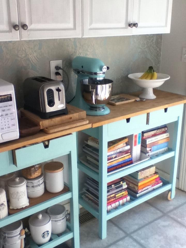 Painted Ikea Kitchen Cart and Ice Blue Kitchenaid Mixer