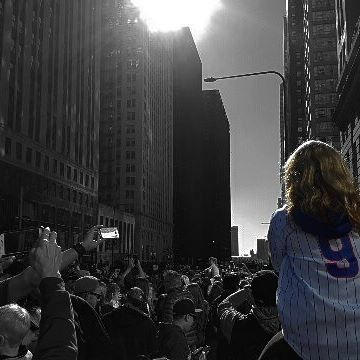This girl has seen the Cubs win the world series as many times as everyone else around her #cubs #flythew #chicago #sunset #tbt #historymade #parade