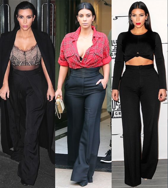 Kim Kardashian West On In 2018 Fashion Clothes Watches Shoes Vanity Style Wide Leg Pants
