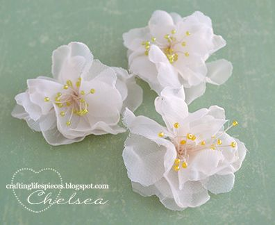 Tutorial: Chiffon flower: Crafting Life's Pieces - She uses a die but a template would work. Color w water colors or mist. - Scroll down in post.