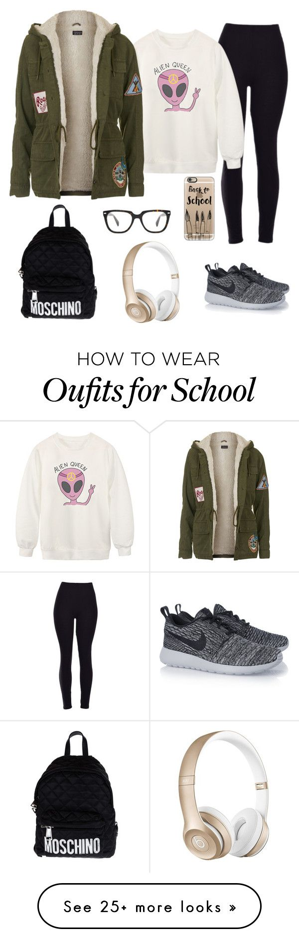 """Back to school"" by jordangirl2313 on Polyvore featuring Chicnova Fashion, Topshop, NIKE, Moschino, Casetify, Beats by Dr. Dre, women's clothing, women's fashion, women and female"