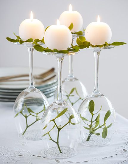 mistletoe and wine glass candle holders