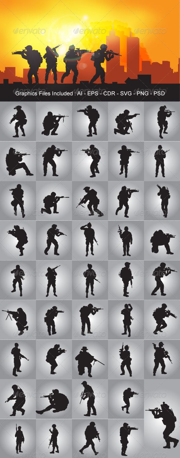 Soldier Silhouettes  #GraphicRiver         Nice Soldier Silhouettes vector design. In this files include AI and EPS versions. You can open it with Adobe Illustrator CS and