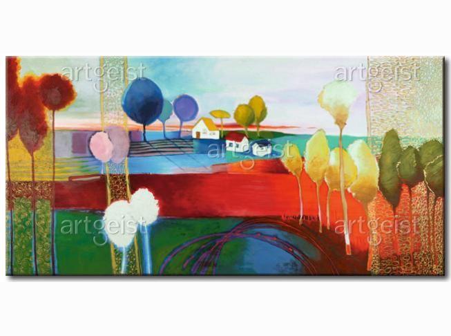 Paisaje rural y el escenario idílico en un cuadro inspirado en los collages de colores #cuadros #cuadrospintadosamano #paisaje #arboles #collages #paisajedecolores #paisajecolorido