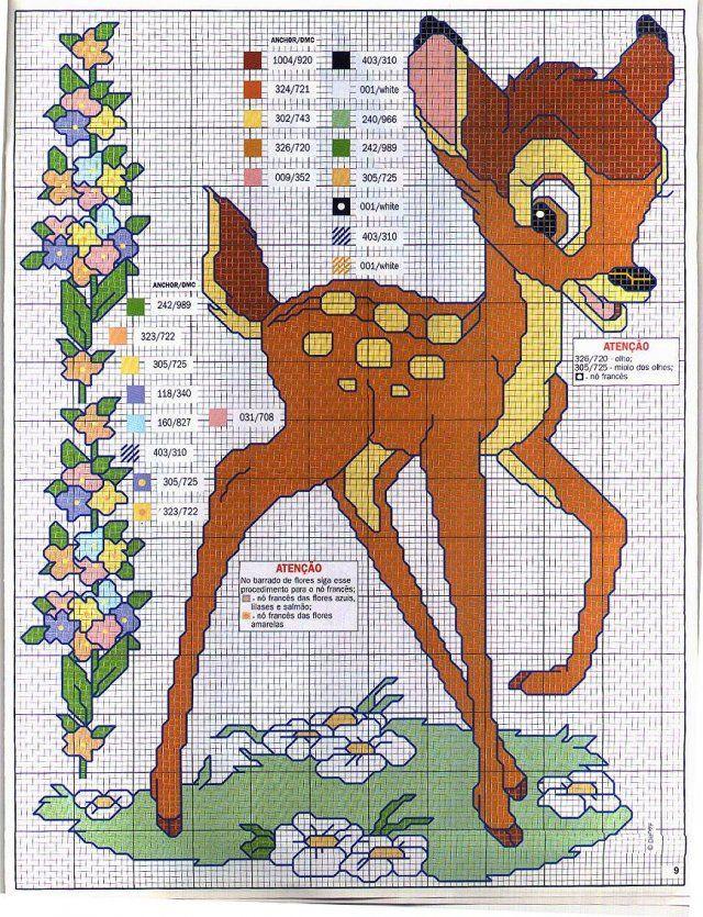 Free Bambi cross stitch pattern (link not in English).