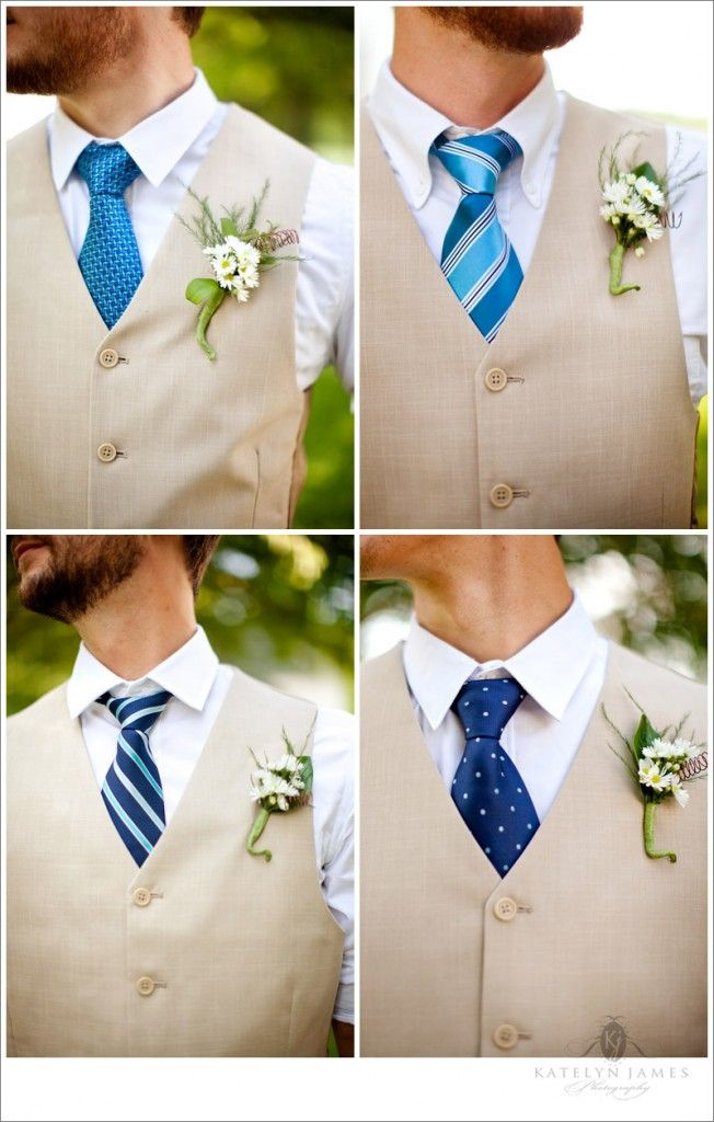 Groomsmen wear the same vest with different ties all in coordinating colors