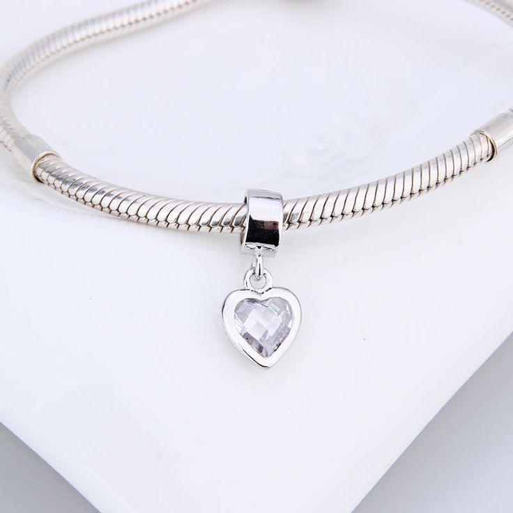 Cuore con grosso cristallo chiaro ciondolo 100% argento sterling 925 adatta a braccialetto stile europeo e collane e pandora bead charm di OceanBijoux su Etsy