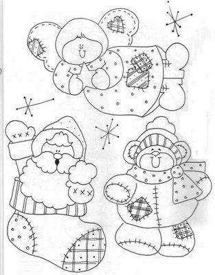 Santa, angel, snowman patterns