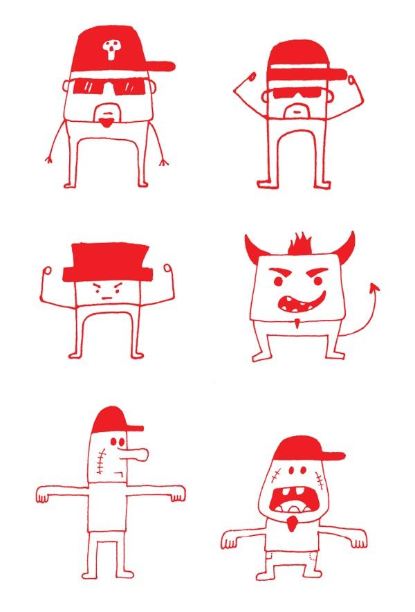 personajes, realizados con marcador, via Behance