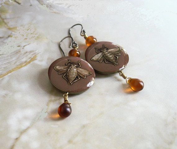 Honey bee earrings handmade  dangle earrings by copperryfields, $42.00