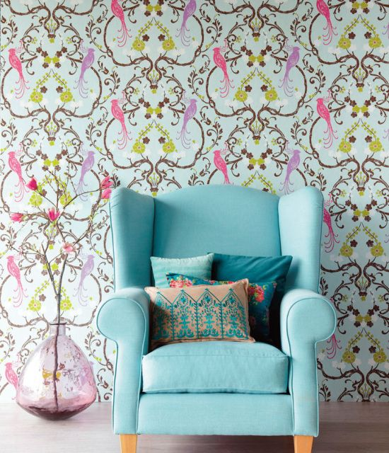 by JF Fabricswe love this quirky design, it's sumptuous yet cheerful pattern, will provide a focal point in any room click here if you wish to order samplesnon-woven paperpattern repeat - half droproll 20.5 in wide, 33 ft longcoverage 56 sq. ft.