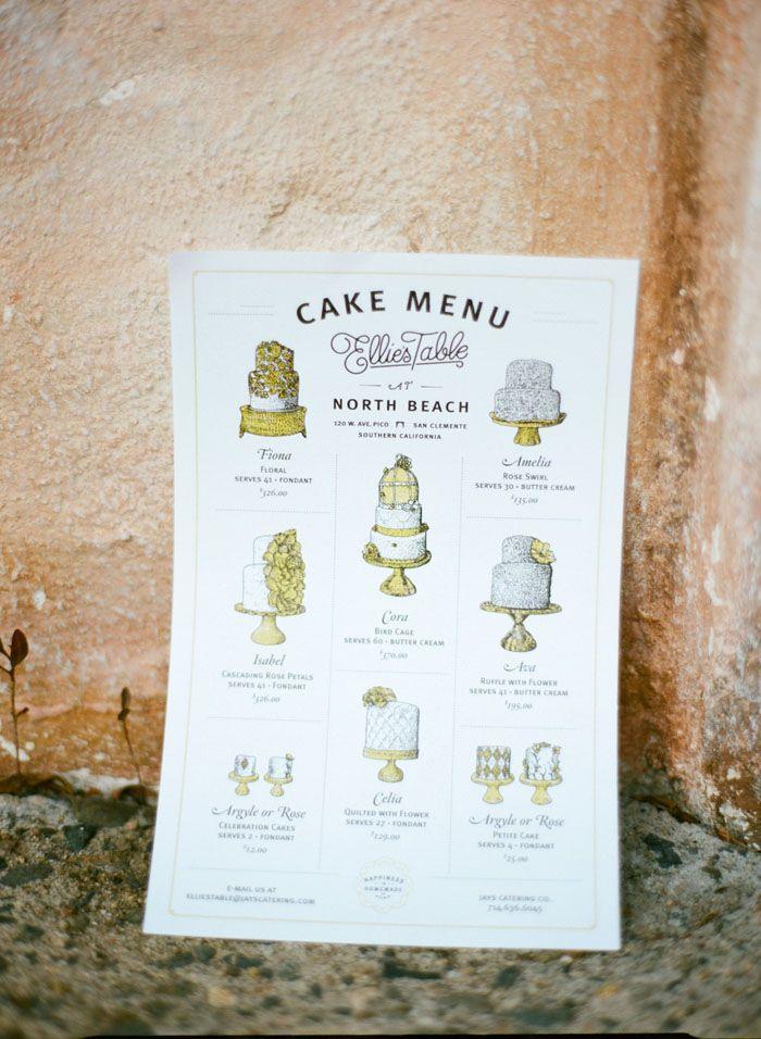 Dortové menu *** Wedding cake menu - Romancing the Garden