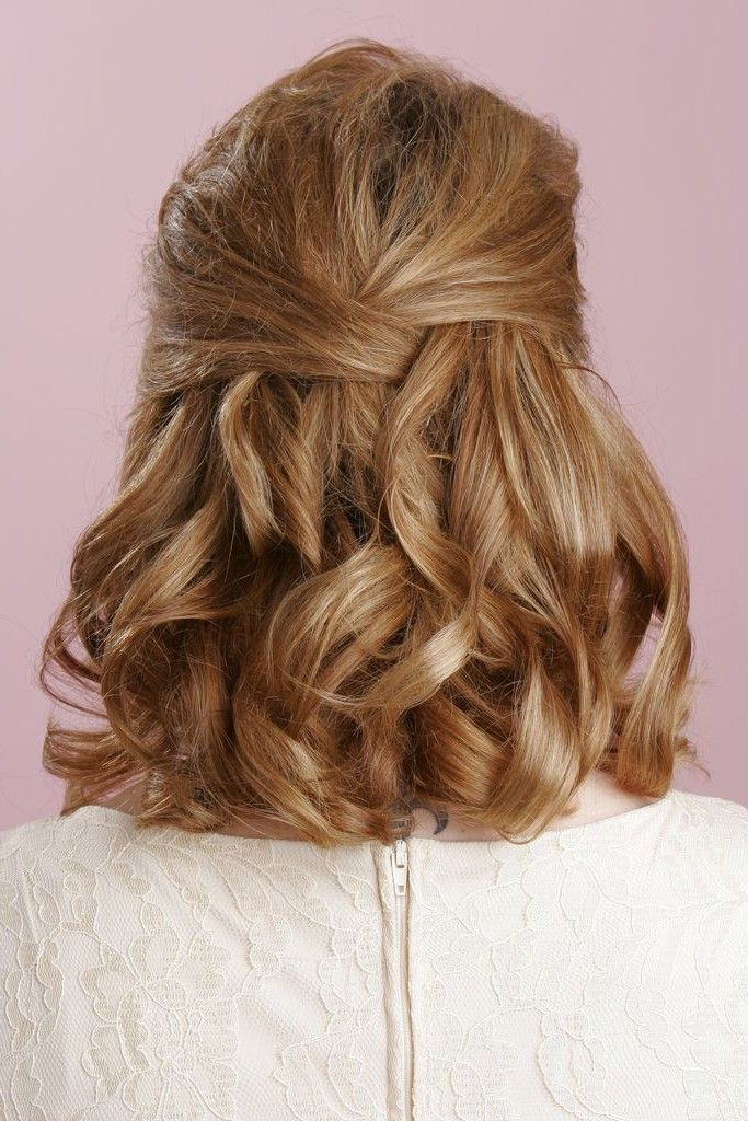 Hairstyles For Short Hair Upto Shoulders : Half updo hairstyles, Wedding and Wedding hair half on Pinterest
