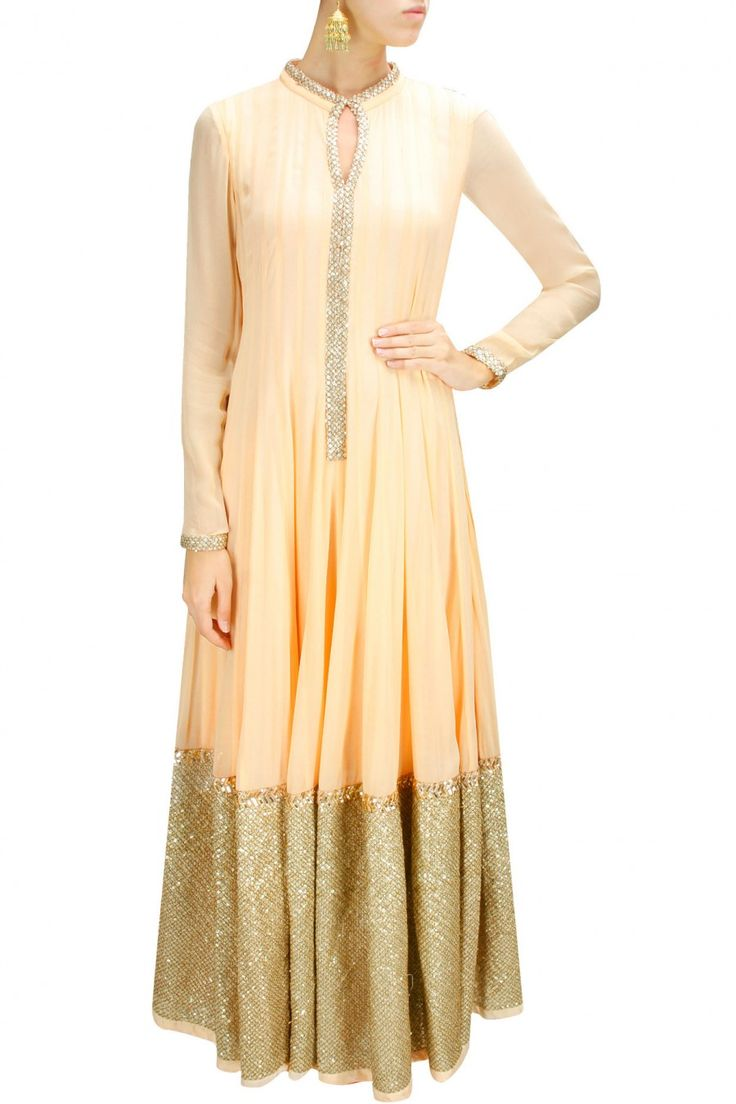 PRINCESS DIARIES : Peach embroidered floor length anarkali by Prathyusha Garimella. Shop now at www.perniaspopups... #traditional #designer #fashion #couture #shopnow #perniaspopupshop #happyshopping