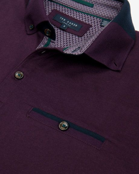 Colour block collar polo shirt - Light Purple | Tops & T-shirts | Ted Baker