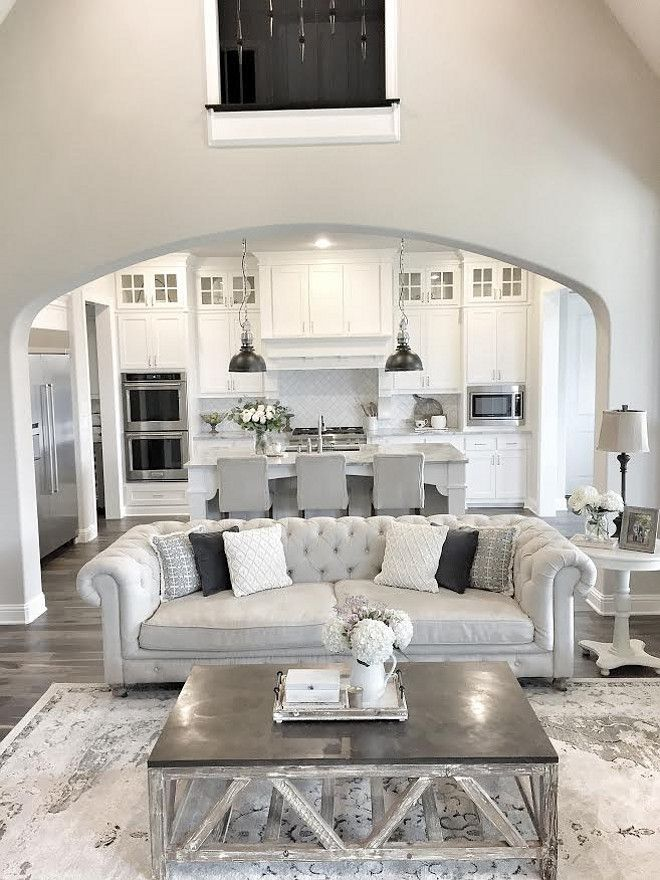 Etonnant Open Layout Living Room In Sherwin Williams Repose Gray