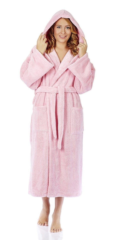 2fdb615586 Women s Hooded Fleece Bathrobe Turkish Soft Plush Robe - Pink - CM120L11HDD