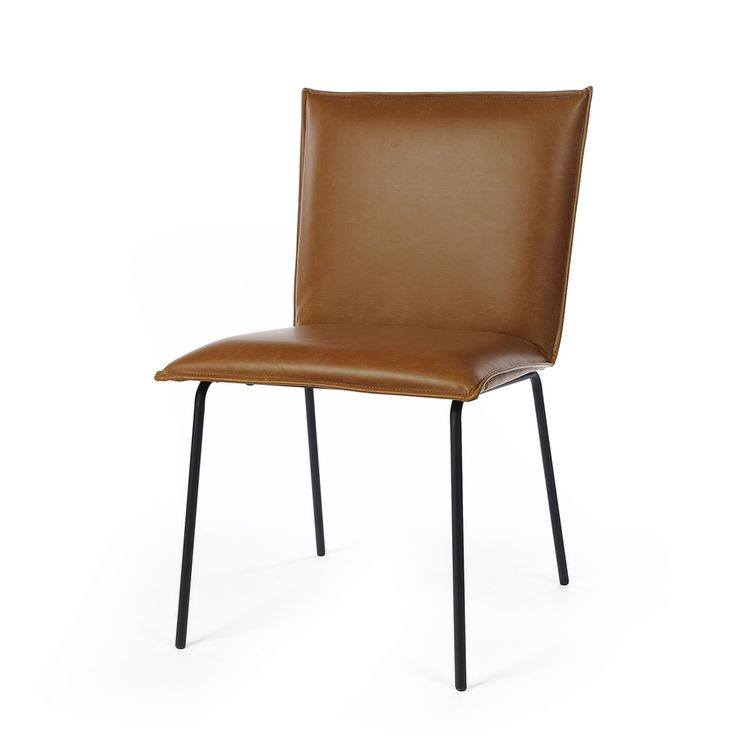 Deze zwart of cognac nep leren eetkamerstoel zonder armleuning is perfect als stoel voor om de tafel. Ook leuk als fauteuil voor in de zithoek.