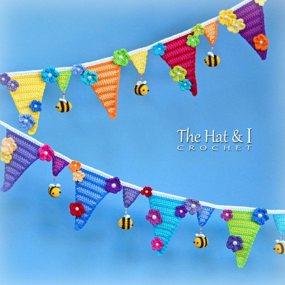 CROCHET PATTERN - Bee Happy Bunting - crochet bunting pattern, crochet garland, bumblee bee bunting, crochet banner - Instant PDF Download