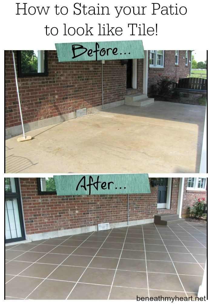 How to Stain your Patio to look like Tile {#tbt} - Beneath My Heart