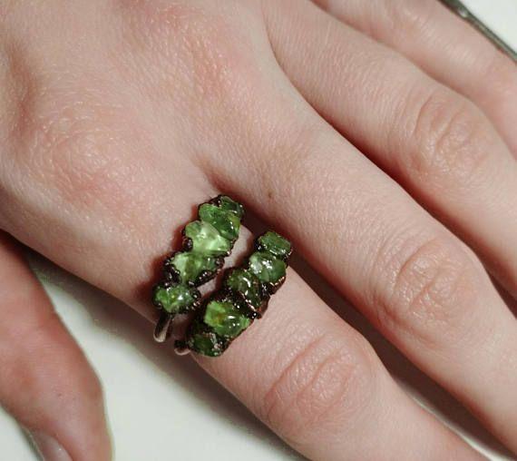 Raw peridot ring raw gemstone ring multistone ring ring